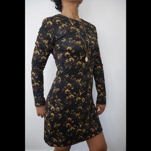 Zara A-line scoop neck long sleeve floral dress